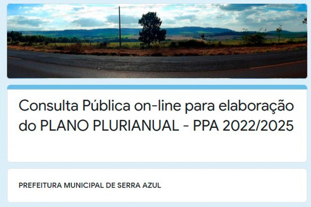 Consulta Pública Online para elaboração do PLANO PLURIANUAL - PPA 2022/2025